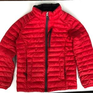 LL Bean red down sweater coat size 6x - 7